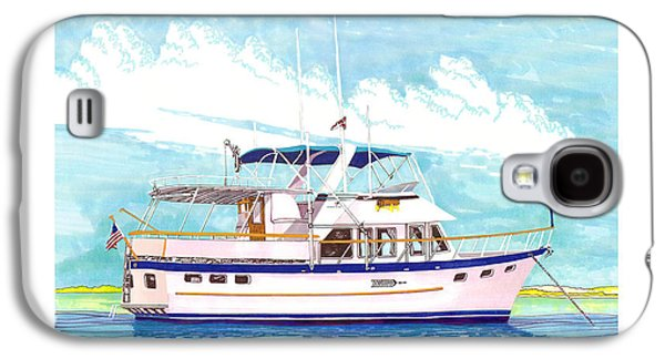 Boats In Harbor Galaxy S4 Cases - 37 foot Marine Trader 37 Trawler yacht at anchor Galaxy S4 Case by Jack Pumphrey