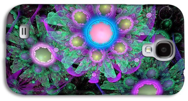 Abstract Digital Galaxy S4 Cases - 3D Flowers Galaxy S4 Case by Peggi Wolfe