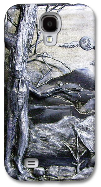 Cardboard Mixed Media Galaxy S4 Cases - 3D Tree man in Moonlight Relief Galaxy S4 Case by Jan Wendt