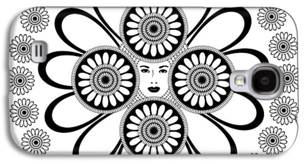 Circles Drawings Galaxy S4 Cases - Art Nouveau Woman Galaxy S4 Case by Frank Tschakert