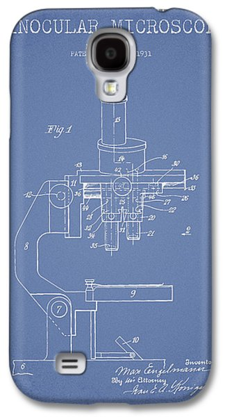 Microscope Galaxy S4 Cases - Binocular Microscope Patent Drawing from 1931 - Light Blue Galaxy S4 Case by Aged Pixel