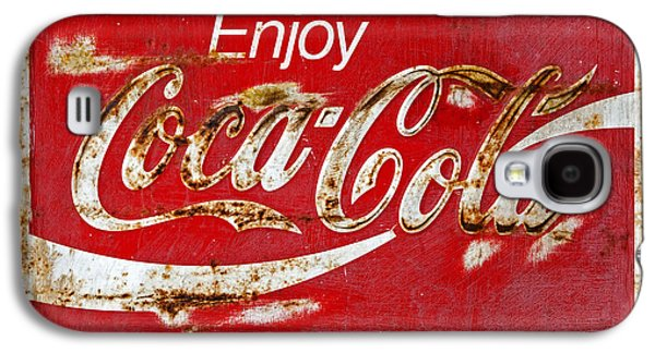 Coca-cola Signs Galaxy S4 Cases - Coca Cola Vintage Rusty Sign Black Border Galaxy S4 Case by John Stephens