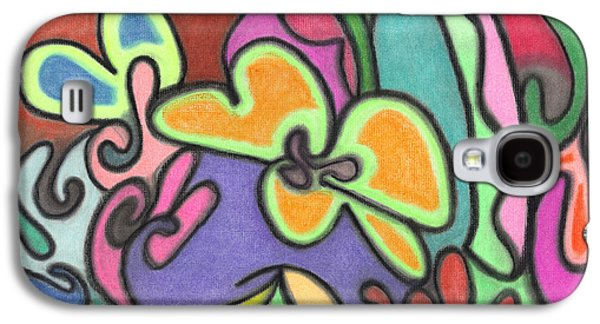 Nature Abstract Pastels Galaxy S4 Cases - Fluid Flowers Galaxy S4 Case by Christine Perry