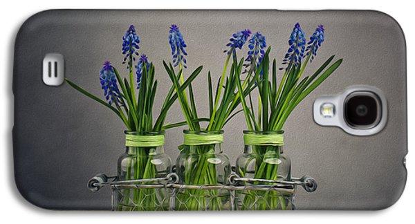 Blue Grapes Galaxy S4 Cases - Hyacinth Still Life Galaxy S4 Case by Nailia Schwarz