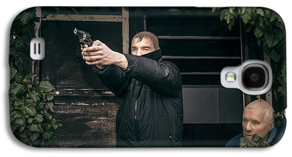 Accomplice Galaxy S4 Cases - Masked men with a gun Galaxy S4 Case by Jan Mika