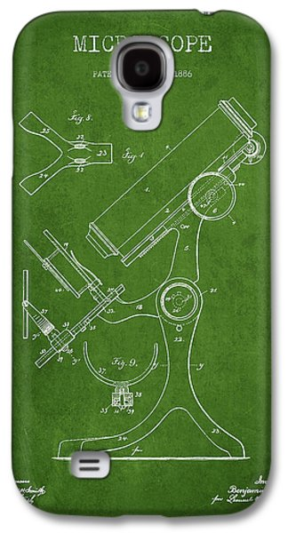 Microscope Galaxy S4 Cases - Microscope Patent Drawing From 1886 - Green Galaxy S4 Case by Aged Pixel
