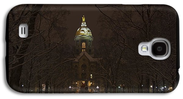 Holy Mother Galaxy S4 Cases - Notre Dame Golden Dome Snow Poster Galaxy S4 Case by John Stephens