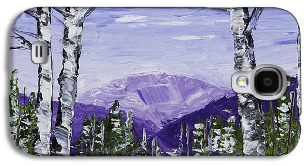 Snowy Day Paintings Galaxy S4 Cases - Painting of White Birch Trees in Winter Galaxy S4 Case by Keith Webber Jr
