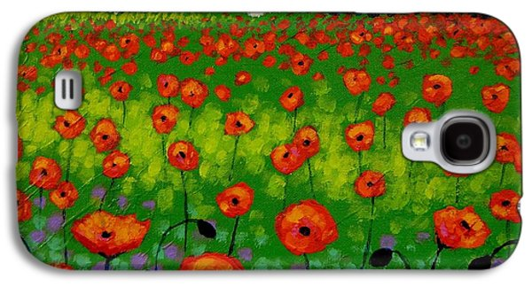 Landscape Acrylic Prints Paintings Galaxy S4 Cases - Poppy Field Galaxy S4 Case by John  Nolan