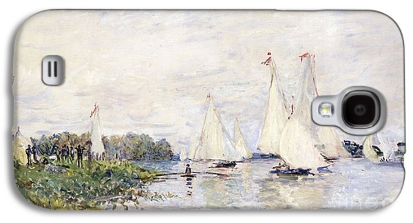 Water Vessels Paintings Galaxy S4 Cases - Regatta at Argenteuil Galaxy S4 Case by Claude Monet