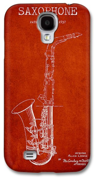 Saxophone Patent Drawing From 1937 - Red Galaxy S4 Case by Aged Pixel