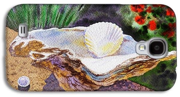 Morning Light Paintings Galaxy S4 Cases - Sea Shell and Pearls Morning Light Galaxy S4 Case by Irina Sztukowski