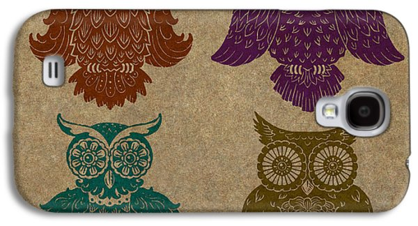 Lino-cut Galaxy S4 Cases - 4 Sophisticated Owls Colored Galaxy S4 Case by Kyle Wood