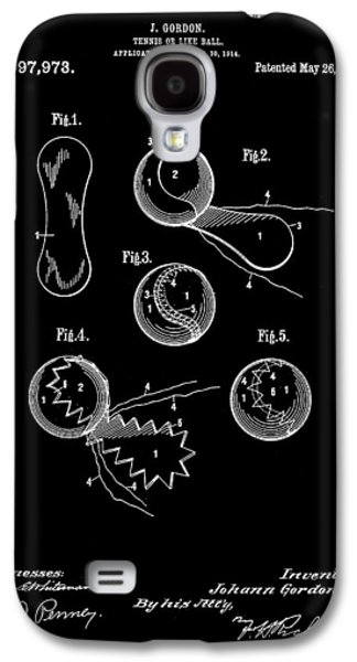 Atp Galaxy S4 Cases - Tennis Ball Patent 1914 - Black Galaxy S4 Case by Stephen Younts