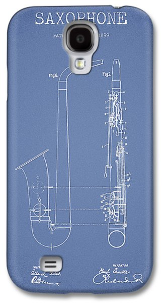Saxophone Patent Drawing From 1899 - Light Blue Galaxy S4 Case by Aged Pixel