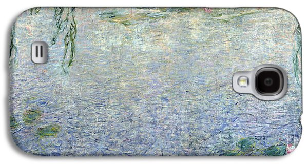 Weeping Galaxy S4 Cases - Waterlilies Morning with Weeping Willows Galaxy S4 Case by Claude Monet