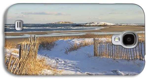 New England Snow Scene Galaxy S4 Cases - Winter at Popham Beach State Park Maine Galaxy S4 Case by Keith Webber Jr