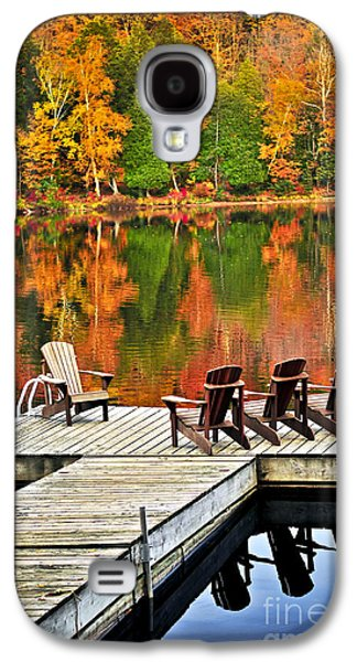 Getaway Galaxy S4 Cases - Wooden dock on autumn lake Galaxy S4 Case by Elena Elisseeva