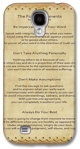 Spirits Galaxy S4 Cases - 41- The Four Agreements Galaxy S4 Case by Joseph Keane