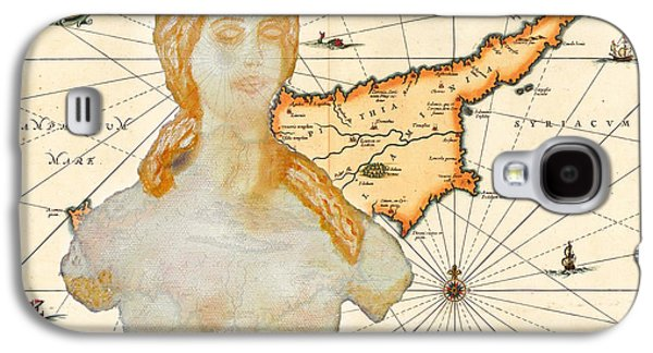 Antique Map Digital Galaxy S4 Cases - Ancient Cyprus Map and Aphrodite Galaxy S4 Case by Augusta Stylianou