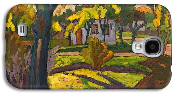 Green Galaxy S4 Cases - 4222 Autumn In Our Street, 2010 Oil On Board Galaxy S4 Case by Marta Martonfi-Benke