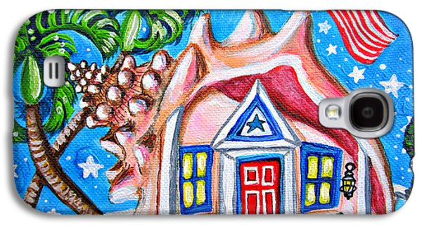 4th July Paintings Galaxy S4 Cases - 4th of July Conch House Galaxy S4 Case by Abigail White