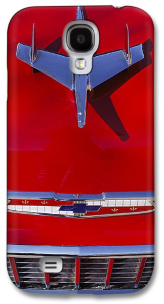 Classic Cars Photographs Galaxy S4 Cases - 1955 Chevrolet Belair Nomad Hood Ornament Galaxy S4 Case by Jill Reger