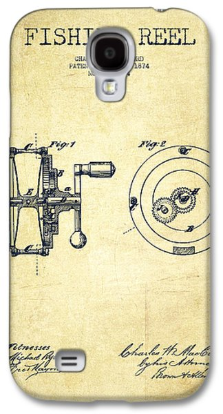 Distress Galaxy S4 Cases - Fishing Reel Patent from 1874 Galaxy S4 Case by Aged Pixel
