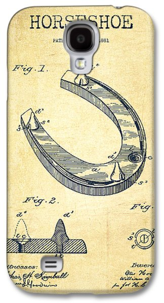 Western Digital Art Galaxy S4 Cases - Horseshoe Patent Drawing from 1881 Galaxy S4 Case by Aged Pixel