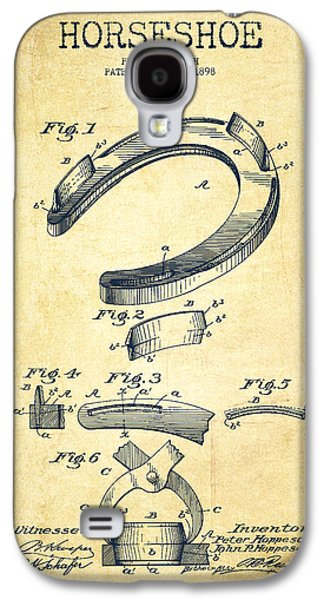 Western Digital Art Galaxy S4 Cases - Horseshoe Patent Drawing from 1898 Galaxy S4 Case by Aged Pixel