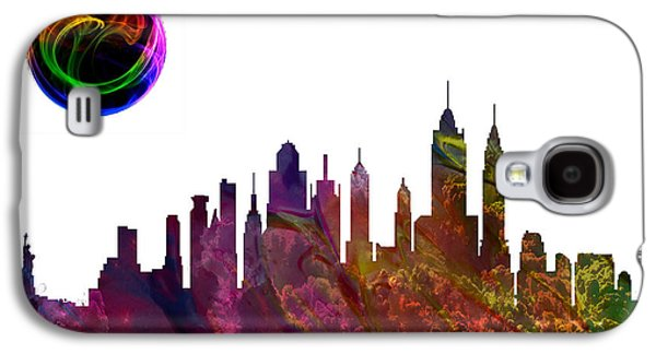 Skylines Paintings Galaxy S4 Cases - New York City Skyline Galaxy S4 Case by Celestial Images