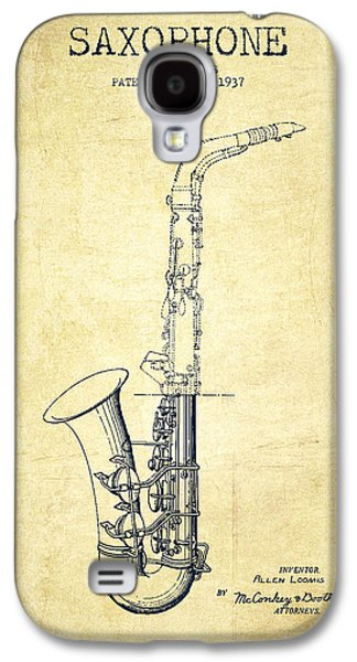 Saxophone Patent Drawing From 1937 - Vintage Galaxy S4 Case by Aged Pixel