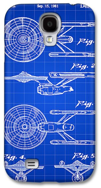 Enterprise Galaxy S4 Cases - Star Trek USS Enterprise Toy Patent 1981 - Blue Galaxy S4 Case by Stephen Younts