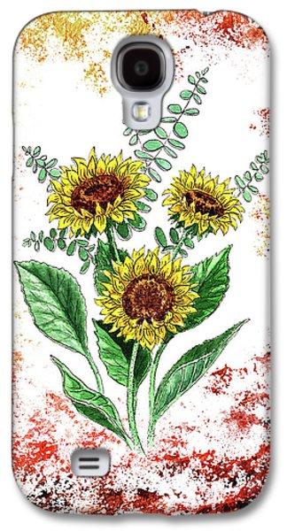 Sunflower Paintings Galaxy S4 Cases - Sunflowers Galaxy S4 Case by Irina Sztukowski