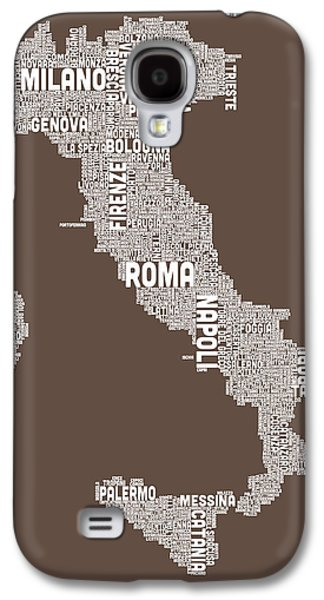 Geography Galaxy S4 Cases - Text Map of Italy Map Galaxy S4 Case by Michael Tompsett