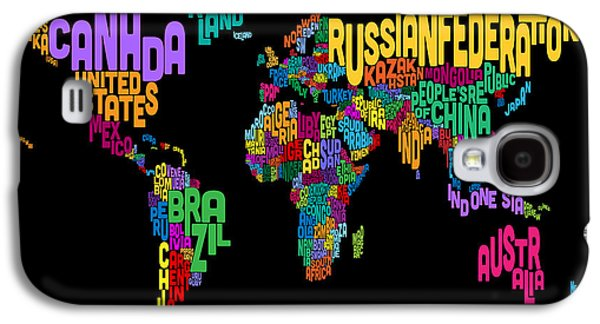 Cartography Digital Art Galaxy S4 Cases - Text Map of the World Map Galaxy S4 Case by Michael Tompsett