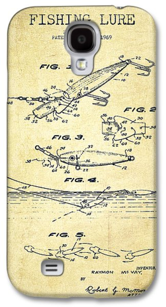 Caught Galaxy S4 Cases - Vintage Fishing Lure Patent Drawing from 1969 Galaxy S4 Case by Aged Pixel