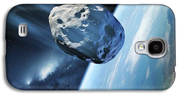 Planetoid Galaxy S4 Cases - Asteroid Approaching Earth, Artwork Galaxy S4 Case by Detlev van Ravenswaay