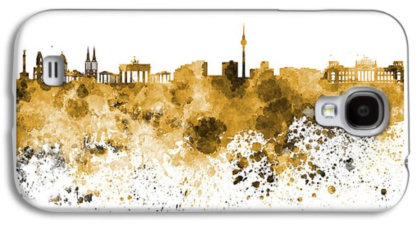 Berlin Germany Paintings Galaxy S4 Cases - Berlin skyline in watercolor on white background Galaxy S4 Case by Pablo Romero