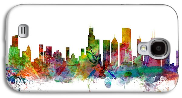 Cityscape Digital Galaxy S4 Cases - Chicago Illinois Skyline Galaxy S4 Case by Michael Tompsett
