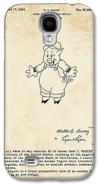 Disney Pig Patent Galaxy S4 Case by Marlene Watson