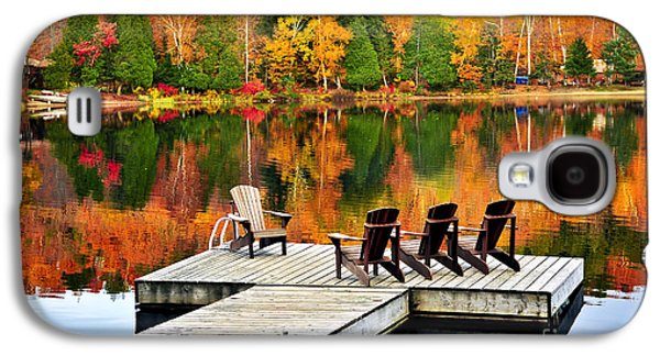Chair Galaxy S4 Cases - Wooden dock on autumn lake Galaxy S4 Case by Elena Elisseeva