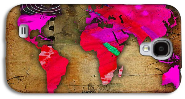 Map Galaxy S4 Cases - World Map Watercolor Galaxy S4 Case by Marvin Blaine