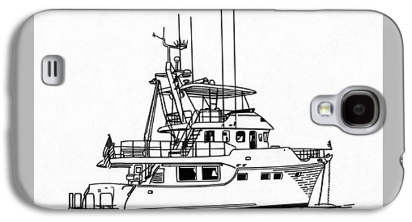 Owner Drawings Galaxy S4 Cases - 60 Foot Nordhav Grand Yacht Galaxy S4 Case by Jack Pumphrey