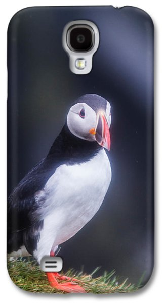 Vertical Flight Galaxy S4 Cases - Atlantic Puffin Fratercula Arctica Galaxy S4 Case by Panoramic Images