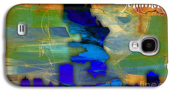 Cities Galaxy S4 Cases - Milwaukee Map and Skyline Watercolor Galaxy S4 Case by Marvin Blaine