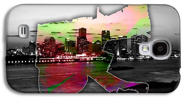 New Orleans Map And Skyline Watercolor Galaxy S4 Case by Marvin Blaine