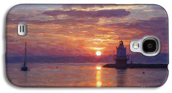 New England Ocean Galaxy S4 Cases - Sunrise at Spring Point Lighthouse Galaxy S4 Case by Diane Diederich