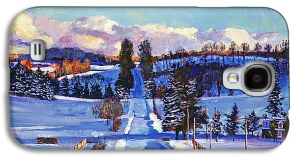 Snow Scene Landscape Paintings Galaxy S4 Cases - 817 Canadian Winter Farm Galaxy S4 Case by David Lloyd Glover