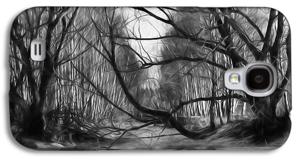 9 Black And White Artistic Painterly Icy Entrance Blocked By Braches Galaxy S4 Case by Leif Sohlman